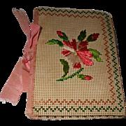 Pretty 19th century Embroidered Bristol Board Needle Case