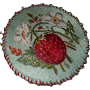 A pretty  Victorian Hand Painted Strawberry Pin cushion