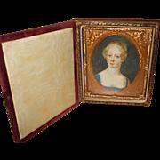 Attractive Antique Hand Painted Portrait Miniature of a Fine Lady