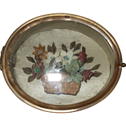 Beautiful 19th Century Gilt Metal Trinket Box with Floral Display