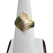 """SALE Size 6.25"""" Ladies Fashion Ring with 10 Diamonds and Seashell Motif, 1970's ..."""