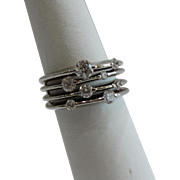 SALE 14 Karat White Gold Right Hand Bubble Fashion Ring Size 6.5 0.90 ...