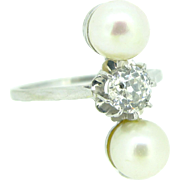 Original Pearls and old European cut diamond engagement ring, 18kt white gold