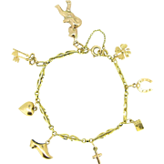 Vintage French Lucky Charms bracelet, French hallmarked, 18kt gold