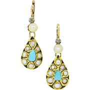 Ravishing Antique dormeuses earrings set with turquoises and fine pearls, 18kt gold and enamel