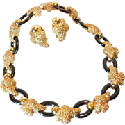 SALE Vintage St. John jewelry 2-Pc set Necklace / earrings Signed
