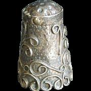 "SALE Vintage signed Mexico Silver Thimble Raised ornate motif 1"" x 5/8"""