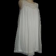 SALE Vintage Komar babydoll nightgown sz. L White Nylon white lace fabric buttons