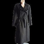 SALE Vintage 80's Valentino Dress Coat Black w/ velvet trim Belted Wool blend