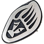 SALE Hopi - Ramon Dalangyawma - Sterling Overlay Badger Paw Pin/Pendant.