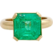 REDUCED A Vintage 5 Carat Solitaire Emerald  Ladies Ring Size 6