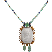 SALE An Art Deco Emerald, Sapphire and Gold Bead Necklace with an 18K Gold Decorative ...