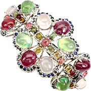 A Magnificent Bracelet Cuff Made of Precious and Semi Precious Gems set in 14K White ...