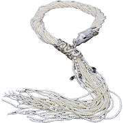 A Magnificent Statement Necklace Made of Cultured Seed Pearls with a Sterling Silver and Cubic