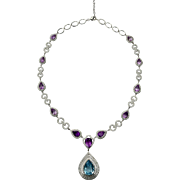 An Imposing Blue Topaz and Amethyst Drop Necklace