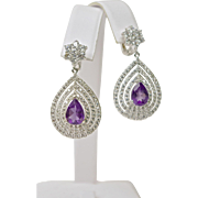 A Pair of Amethyst and Topaz Statement Drop Earrings