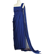 A 1989 Christian Dior Haute Couture n° 1740 Royal Blue silk Mousseline Sheath dress by ...