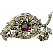 A Vintage 1940 Signed Eisenberg Sterling Silver and Rhinestone Fur Clip