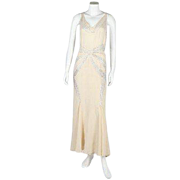 A 1930 bias-cut white beaded dress