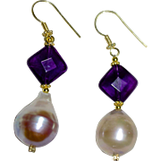 Fabulous Baroque Pearl, Amethyst and Gold Drop Earrings