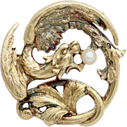 A Vintage 14KT Gold and Pearl Dragon Brooch Pin