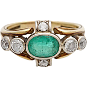 A Vintage 1930's Emerald & Diamond Ring Set in 14KT Yellow Gold