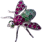 An Emerald & Ruby Insect Pin Brooch Set In Sterling Silver