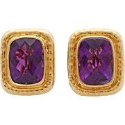 A Large Pair of Vintage Handmade Amethyst Stud & Clip Earrings Set In 18KT Yellow Gold