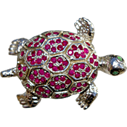 A Ruby Tortoise Pin Brooch Set In Sterling Silver