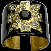 A Signed Vintage KJL Black Maltese Cross Bracelet Cuff