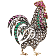 An Antique Figural Rooster Cockerel Bird Brooch Pin Made of Gold, Diamond, Rubies & Emeralds