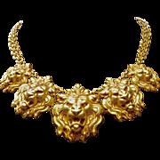 SALE A Signed Askew London Gold Tone Graduated 5 Lion Head Classic Necklace