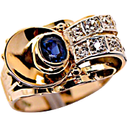 A Vintage Art Deco Sapphire and Diamond Cocktail Ring
