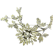 A Rare Vintage 1952 Signed Christian Dior by Mitchel Maer Crystal Flower Brooch Pin