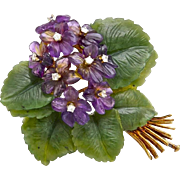 An Art & Crafts Period Suffragette Spray Brooch Pin of Carved Amethyst, Diamond and Nephrite .