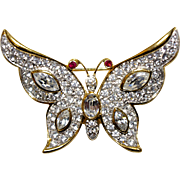 A Vintage Rhinestone Crystal Butterfly brooch Signed Attwood & Sawyer
