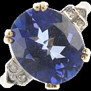SALE A Large Platinum Coated Quartz and Diamond Ring set in 9 Carat gold Shank