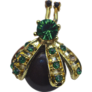 SALE A Boucher'Jelly Belly' Gold Tone & Emerald Green Rhinestone Insect Brooch Pin