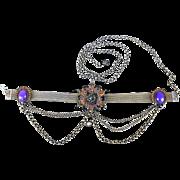 SALE An Imposing Edwardian Antiqued Brass And Rhinestone Matinee Dress Chocker Necklace