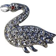 SALE A Vintage 1950's Silver Tone Metal and Clear Austrian Crystals Swan Brooch Pin