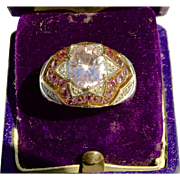 SALE A Domed  14K Gold 4.25ct Pink Kunzite  Diamond  and Pink Sapphire Ring Size 7