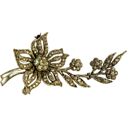 SALE A signed 1930's English Sterling Silver And Paste Drop Floral Spray Brooch