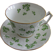 SALE Aynsley Green Shamrock Teacup And Saucer