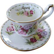 SALE Royal Albert Miniature April Sweet Pea Teacup And Saucer