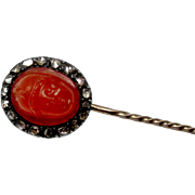 Very Neat 9K Carnellian Agate & Rose Cut Diamond Hand Carved Stick Pin
