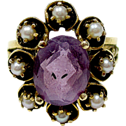 Beautiful 14K Yellow Cultured Pearl & Hand Carved Amethyst Ring