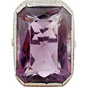 Wonderful 18K White Gold Beautifully Carved Amethyst Ring