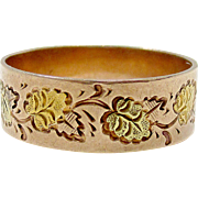 Very Nice 14K Rose, Yellow & Green Gold Leaf Carved Ring