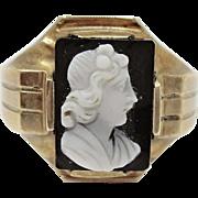 Interesting 10K Victorian Stone Cameo Ring
