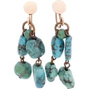 Turquoise Dangle Earrings, 9ct Rose Gold Screw-back